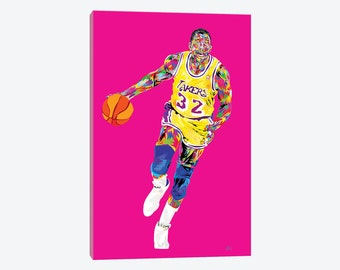 Gallery Style Canvas Print - Earvin Magic Johnson Showtime Lakers 32 - Unique Vibrant Colorful Beautiful Framed Pop Art Wall Decor Gift NBA