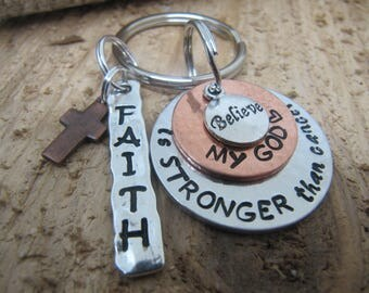 Hand stamped key chain, cancer, jewelry,Gift for  cancer patient, My God is stronger than cancer, Cancer survivor, Religious cancer gift