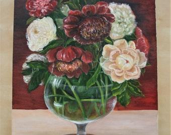 Peony - original oil painting, 40x50 cm, flowers,green, spring, pink, art, drawing, illustration