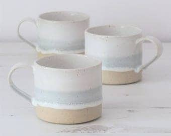 Handmade ceramic mug, pottery mug, grey and white glaze, unglazed base, coffee mug, tea mug, handmade gift, housewarming gift, wedding