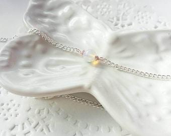 Opalite choker, choker necklace, mixed metal choker, chain choker, gifts for her, dainty choker, layering necklace, layering choker