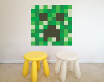 Mine Craft CREEPER face block pattern vinyl wall decal-kids bedroom,playroom,build and design your own,removable stickers,children-109