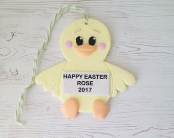 Easter Chick Keepsake - Polymer Clay Easter Chick Personalised Hanging Keepsake - Boy or Girl Easter Ornament - Easter Decoration