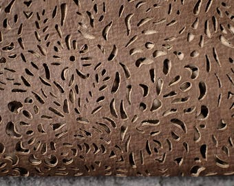 Brown Perforated Leather Hide 55 cm x 50 cm 1,2 mm Italian Genuine Leather Perforated Hide Clothing Leather Laser Cut Leather  b491