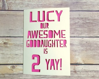 Personalised Goddaughter Birthday Card, Childrens Birthday Card, Goddaughter 1st Birthday, Kids Birthday Card, 1st, 2nd, 3rd, 4th, 5th, 6th