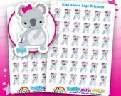 36 Cute Kiki the Koala Shave Legs Planner Stickers, Filofax, Erin Condren, Happy Planner, Kawaii, Cute Sticker, UK