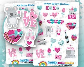 22 Cute Love/Lovey Dovey/Valentine's Day/Date Night Planner Stickers, Filofax, Erin Condren, ...