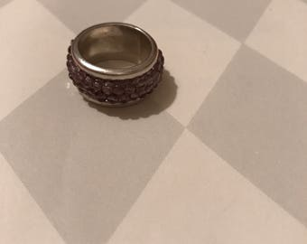 Vintage sterling amythest wide band ring sz 5 1/2