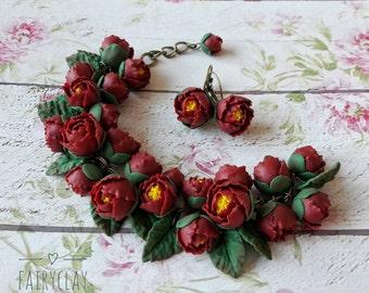 Peony jewelry set, flower bangle, bracelet, earrings, handmade jewelry, clay peony, flower jewelry, handmade flowers, polymer clay flowers.