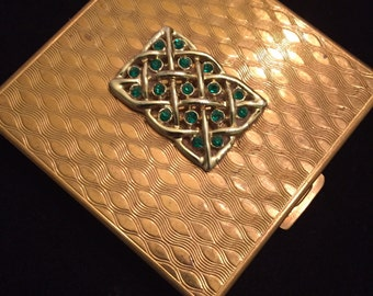 """Volupe Celtic Knot With Emerald Green Rhinestones Vintage Compact 2.30"""""""