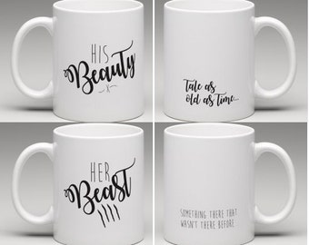 His Beauty & Her Beast Mug / Mug Set with Disney quotes
