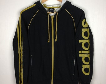 Rare !! Vintage ADIDAS 3 STRIPES Spell Out Big Logo Hoodie Small Size