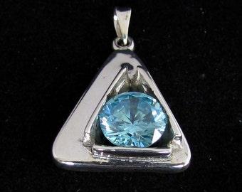 fancy blue CZ pendant Sterling silver 925