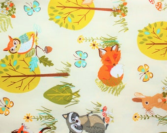Cotton Fabric, Robert Kaufman, Forrest Fellows, Fox, Owl, Squirrle, Racoon, Deer, Woodland theme, Off white, Half Metre