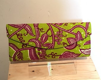 Green and Burgundy African Print Clutch Bag/ Pouchette Africain