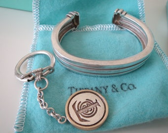 Tiffany & Co. Sterling Silver Atlas Bracelet Cuff and Key Ring Vintage Lot of 2