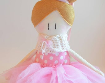 Fabric Doll - Handmade doll - Dancer doll - Dancer cloth - Cotton doll - little girl doll - soft doll - blond hair doll