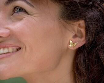 Small butterfly earrings, silver butterfly, wedding jewelry, boho earrings, woman gift.