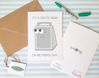 Quirky Mother's Day Card - Great Mum - Puns - Funny Mum Card - Thanks Mum - Alternative Cute Silly Card - Happy Mother's Day - Charity Card
