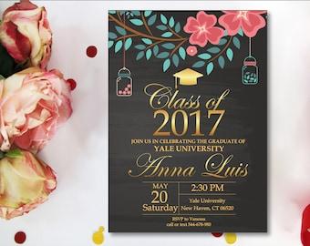 Senior Graduation Announcements, Graduation Party Invitation. Class of 2018. Floral background. Graduation Invitation Floral. Digital