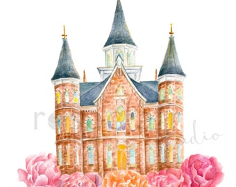 LDS Provo City Center Temple Watercolor Print Wedding Home Decor Gift Floral Painting Art Baptism Birthday Custom Personalize Christmas