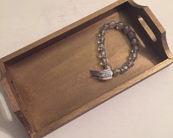 Custom jewelry tray in antique gold