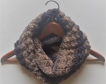 Infinity Scarf, Winter Scarf, Women's Scarf, Black/Taupe Scarf, Crocheted Scarf, Warm Scarf, Handmade Scarf, Wood-Blend Scarf