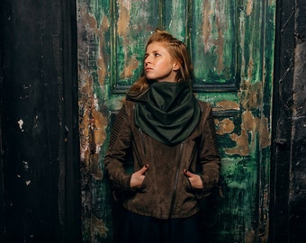 Scarf hoodie / hooded infinity scarf  /  hood and scarf /  green scarf /  winter scarf / hood cowl / scarf with hood / Hooded scarves women