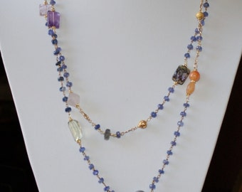 Iolite Chain Opera Length Necklace with Gemstones