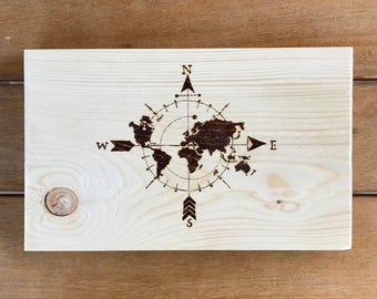 World map, wood burning art, wood art decor, wall hanging, wall decor , made to order