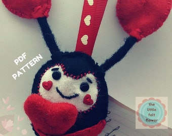 Felt Pattern-Lady Bug Sewing Pattern-Felt lady bird pattern-Felt PDF Pattern-Felt Lady Bug Ornament-Felt LadyBird-Lady Bird