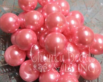 10pc. 20mm Pink Acrylic Pearl Beads