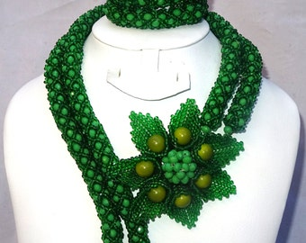 PrestigeApplause Green Tulip Design African Beads Bridal Party Jewelry Set