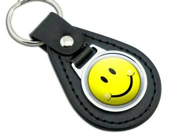 Happy Smiley Face Black Leather Metal Keychain Key Ring