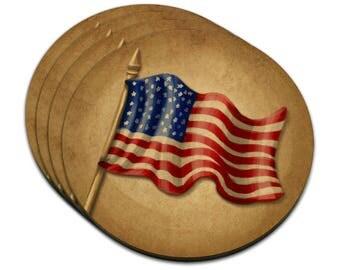 Vintage American Flag Mdf Wood Coaster Set Of 4