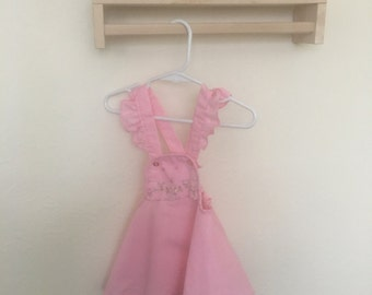Pink Pinafore Dress with floral embroidery