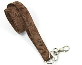 BROWN Fabric lanyard, Brown badge holder, Brown lanyard, Floral badge Holder