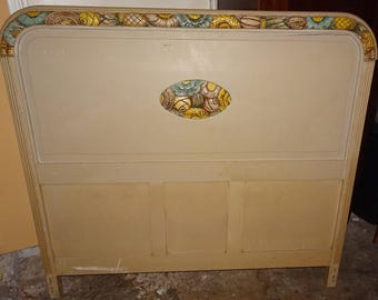 Price Slashed! PICK-UP ONLY! Beautiful Shabby Chic Carved Painted Wood Bed Vintage Ornate Huge Incredible Headboard + Footboard + Side Rails