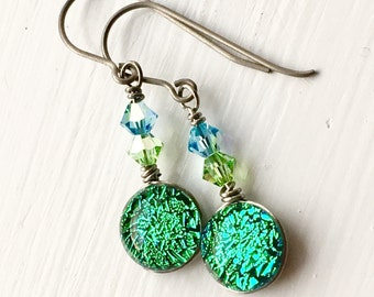 Dichroic Glass and Titanium Drop Earrings ~ Emerald