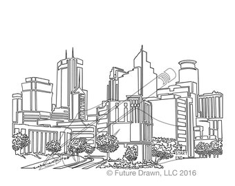 Minneapolis Skyline in One-Line