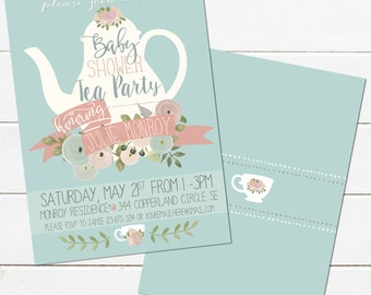 tea party bridal shower invitation diy digital file, invitation samples