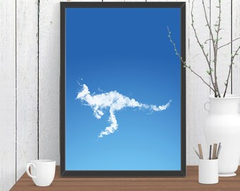 Kangaroo Cloud Print, Outback Animals, Australian Nursery, Wall Art, Room Decor, Modern, Minimalist, Poster A4 A3 A2 8x10 11x14 12x18 16x20