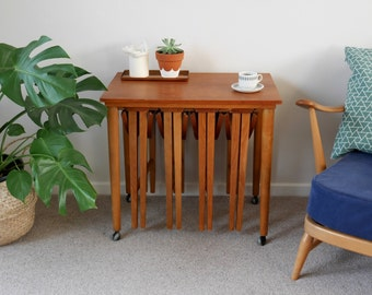Vintage Nest of Tables, Wooden, Round, Folding End or Side Tables, Mid Century Danish Style