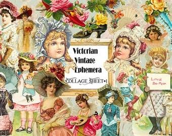 80% Off Victorian Vintage Ephemera Collage Sheet Instant Download,Vintage ephemera digital,Vintage Clipart,Vintage scrapbook embellishment
