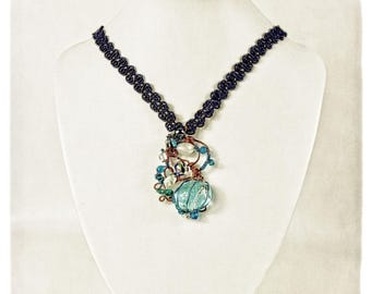 "Twisted Talisman Necklace, Handmade w/ Found Objects,Gemstones ""Blue Bauble"" OOAK"
