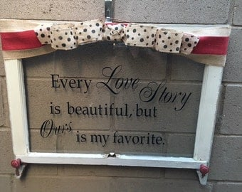 Old Wood Window, Vintage Window, Repurposed Window, Rustic Decor, Shabby Chic Decor, Antique Wood Window, Country Decor, Window Word Saying