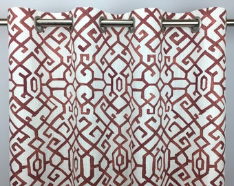 Red White Geometric Curtains - FREE SHIPPING - Maze Drapery - Rod Pocket Drapes - Grommets - Lined/Unlined - Valance- 24 50 x 84 96 108 120