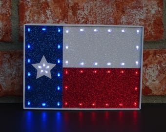 Texas Decor - Texas Gifts - Lighted Decorative Texas Flag - Light Up Texas Flag - Lone Star Decor