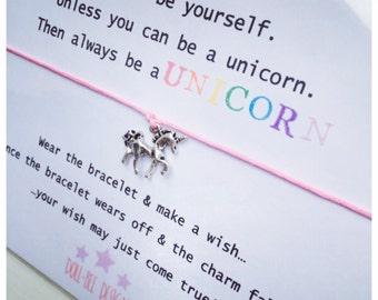 Wishing Bracelet 'Unless you can be a Unicorn' Wish Bracelet Gift