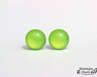 Bright Green Stud Earrings. Lime Green Post Earrings. Hypoallergenic Nickel Free Stud Earrings. Small Green Studs. Minimalist Earrings